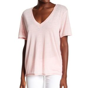 Abound Pink Burnout V Neck Tee